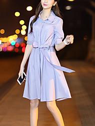 Women's Going out Work Street chic Fashion Slim Thin Shirt Dress Striped Bow Shirt Collar Knee-length Half Sleeve Cotton Polyester Summer /Fall