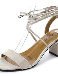 Women's Heels Light Soles Summer Suede Walking Shoes Wedding Casual Party & Evening Dress Buckle Low Heel Chunky Heel Black Beige Gray