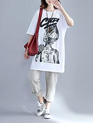 Damen Print Einfach Niedlich Alltag Normal T-shirt,Rundhalsausschnitt Frühling Sommer Kurzarm Baumwollmischung Mittel