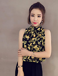 Women's Casual/Daily Simple Summer Blouse,Print Stand Sleeveless Others