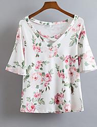 Damen Blumen Einfach Alltag T-shirt,V-Ausschnitt Kurzarm Baumwolle