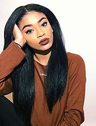 Premier®Kinky Straight Flush Glueless Lace Front Wig 100% Brazilian Human Virgin Hair Glueless Human Hair with Baby Hair For African Americans