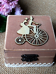 Wooden bike lovers square ring box - brown