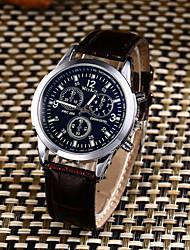 Hombre Reloj Deportivo Reloj de Moda Reloj Casual Chino Cuarzo Resistente al Agua Piel Banda Casual Creativo Elegantes Negro