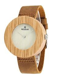 REDEAR®Women's Men's Fashion Watch Wood Watch Japanese Quartz Wooden Genuine Leather Band Charm Elegant Brown