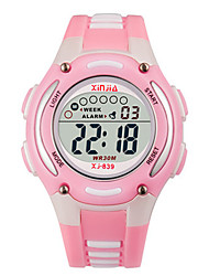 Kid's Fashion Watch Digital Water Resistant / Water Proof Noctilucent Rubber Band Black Orange Pink