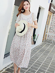 Women's Casual/Daily Loose Dress,Print Strap Midi Sleeveless Polyester Summer High Rise Inelastic Sheer