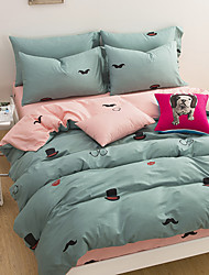 Two Color Patchwork 4 Piece Sets of Bed 100% Cotton Cloth 1pc Duvet Cover 2pc Sham 1pc Flat Sheet For 2 Meter Bed