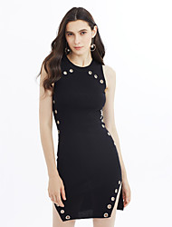 Women's Party Going out Casual/Daily Sexy Simple Sheath Dress,Solid Crew Neck Above Knee Sleeveless Rayon Spring Summer Mid Rise Stretchy