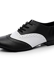 "Men's Latin Real Leather Flats Indoor Black Under 1"" Customizable"