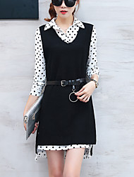 Women's Going out Work Street chic Fashion Shift Two Piece Dress Polka Dot Shirt Collar Asymmetrical Long Sleeve Cotton /Polyester Spring /Fall