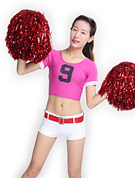 Cheerleader Costumes Outfits Women's Performance Knitwear Pattern/Print 2 Pieces Short Sleeve Natural Tops Shorts