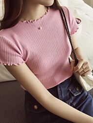 Women's Casual/Daily Cute Regular Pullover,Solid Round Neck Short Sleeve Cotton Summer (1/3 inch) 8 Thin Micro-elastic
