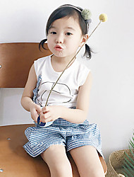 Girl's Fashion And Lovely Embroidery Fair Maiden Temperament Sleeveless Vest T-Shirt  Plaid Skirts Pants Two-Piece