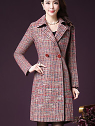 Women's Casual/Daily Simple Winter Coat,Print Shirt Collar Long Sleeve Long Acrylic Polyester Others