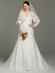 A-Line V-neck Court Train Lace Satin Tulle Wedding Dress with Appliques by LAN TING BRIDE®