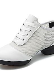 Damen Tanz-Turnschuh Nappaleder Sneakers Im Freien Niedriger Heel Weiß Schwarz 2,5 - 4,5 cm