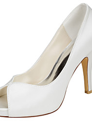 Damen High Heels Pumps Stretch - Satin Sommer Kleid Party & Festivität Pumps Stöckelabsatz Elfenbein 10 - 12 cm