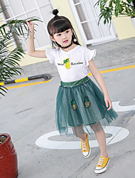 Girl's Fashion And Lovely Embroidery Pineapple Fly Printed Sleeve T-shirt  Sequins Bitter Bitter Dress Two-Piece