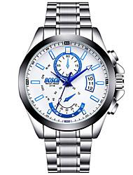 Men's Fashion Watch Quartz Calendar Luminous Stainless Steel Band Casual Silver