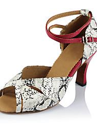 Damen Latin Seide Sandalen Sneakers Professionell Verschlussschnalle Stöckelabsatz Weiß 5 - 6,8 cm Maßfertigung