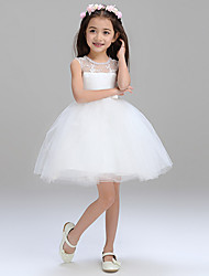 Ball Gown Short/Mini Flower Girl Dress - Tulle Jewel with Bowknot Beading Lace