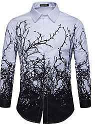 Men's Casual/Daily Work Simple Spring Fall Shirt,Solid Print Classic Collar Long Sleeves Cotton Others