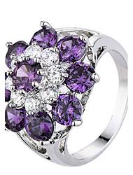 Mujer Soporte del anillo Anillos Anillo Zirconia Cúbica CristalDiseño Básico Diseño Único Diamantes Sintéticos EEUU Británico Floral