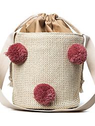 Damen Bag Sets Stroh Ganzjährig Normal Barrel Bag Kordelzug Schwarz Rosa