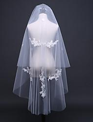 Véus de Noiva Duas Camadas Véu Ombro Véu Cotovelo Corte da borda Borda com aplicação de Renda Borda Lápis Tule