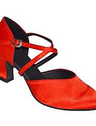 "Women's Modern Silk Sandal Performance Criss-Cross Cuban Heel Black Red Almond 2"" - 2 3/4"" Customizable"