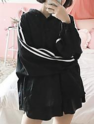 Trench Femme,Rayé Quotidien Contemporain Printemps Manches longues Capuche Longue Polyester Autres