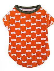 Hund T-shirt Hundekleidung Lässig/Alltäglich Knochen Orange