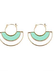 Fashion Women Resin Stone Set Hoop Earrings