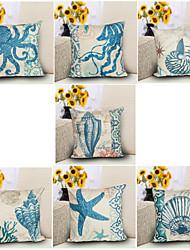 7 Design Mediterranean Starfish Octopus Pillow Cover 1 PCS Classic Sofa Cushion Cover Square  Pillow Case
