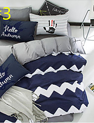 Simple Painting 4 Piece Sets of Bed 100% Cotton Cloth 1pc Duvet Cover 2pcs Shams 1pc Flat Sheet For 1.5-1.8 Meter Bed