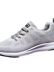 Femme Chaussures d'Athlétisme Confort Tulle Printemps Automne Décontracté Marche Confort Lacet Talon Plat Blanc Gris 5 à 7 cm