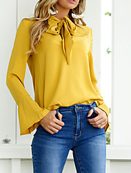 Women's Casual/Daily Sexy Cute Fall Winter Shirt,Solid Round Neck Long Sleeve Cotton Polyester Medium
