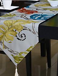 Korean Pastoral Style Fashion Color Leaves Cotton And Linen Table Flag 33*200cm