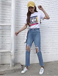 Femme Sexy Taille haute Micro-élastique Droite Jeans Pantalon,Droite Maille Toile de jean Couleur Pleine Grille / Carreaux