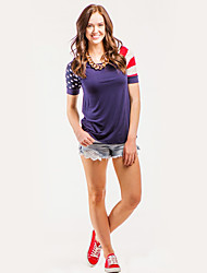 Feminino Camiseta Esportes Férias Roupa Esportiva Simples Verão,Bandeiras Algodão Decote Redondo Manga Curta Fina
