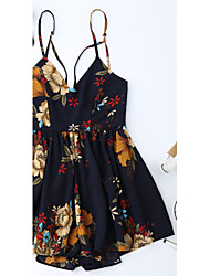 Women's Going out Holiday Rompers,Sexy Loose Backless Floral Summer