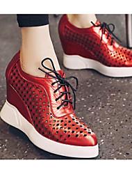 Damen Schuhe Atmungsaktive Mesh PU Frühling Sommer Komfort Sneakers Für Normal Schwarz Silber Rot