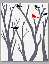 IARTS® Hand Painted Modern Abstract Birds in the Woods Oil Painting On Canvas with Stretched Frame Wall Art For Home Decoration Ready To Hang