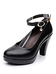 Damen High Heels Pumps formale Schuhe Echtes Leder Frühling Herbst Normal Kleid Party & Festivität Niete Schnalle BlockabsatzWeiß Schwarz