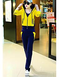 Sweat à capuche Pantalon Costumes Femme,Couleur Pleine Bande dessinée Décontracté / Quotidien simple Printemps Automne Manches longues