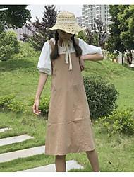 Feminino Japonesa/Curta Vestidos Conjuntos Diário Casual Casual Verão,Sólido Decote Redondo Manga 1/2 Inelástico