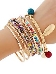 Femme Bracelets Rigides Bracelets de rive Bracelets Strass Mode Bohême Fait à la main Alliage de métal Couleur métalique brillante Métal
