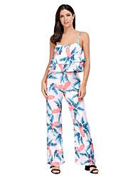 Debardeur Pantalon Costumes Femme,Fleur Quotidien Motif Vacances Eté Sans Manches A Bretelles Style floral Imprimé Haute élasticité
