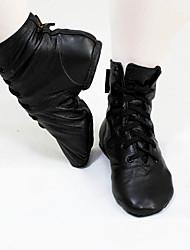 Women's Jazz Cowhide Flats Boots Practice Black
